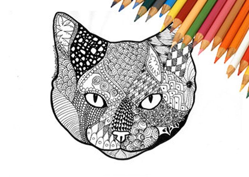 Coloring Page Download Coloring Page Download Cat Cat Face Etsy