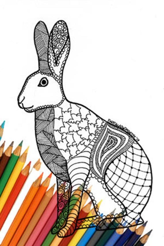 Lepre pagina da colorare zentangle download animali for Lepre disegno da colorare