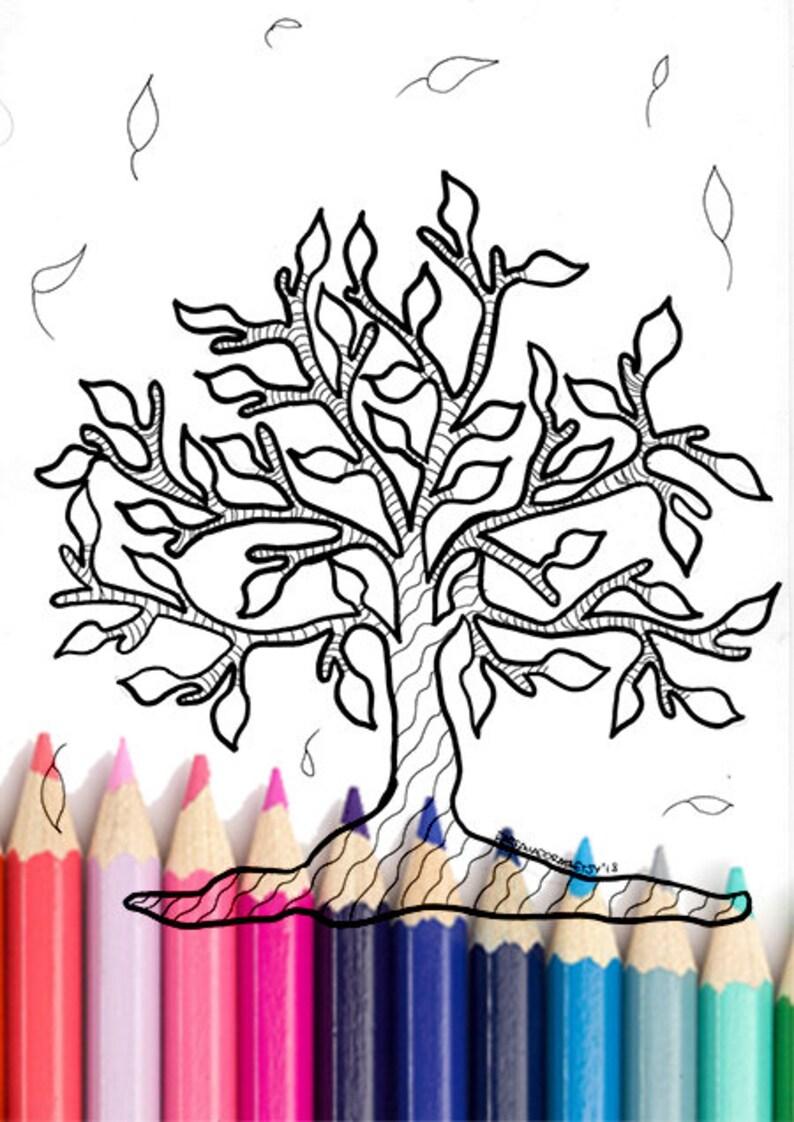 Albero Della Vita Da Colorare Stampabile Zentangle Zen Da Etsy