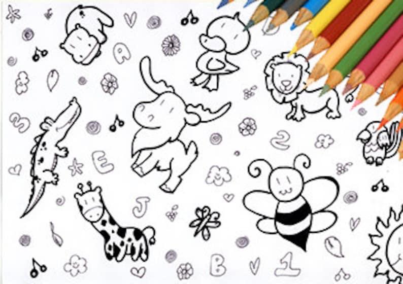 Disegno Da Colorare Bambini Animali Stampabile Tenero Etsy