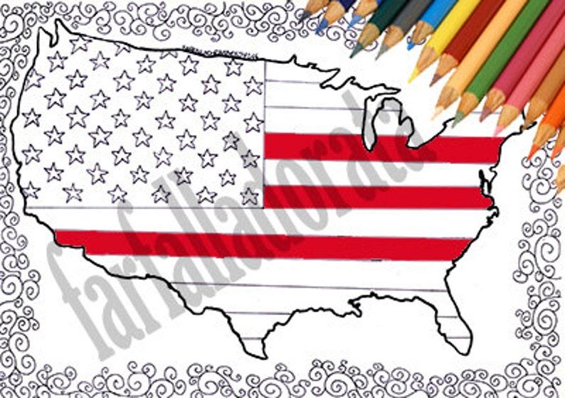 Stati Uniti Bandiera Mappa America Pagina Da Colorare Adulti Etsy