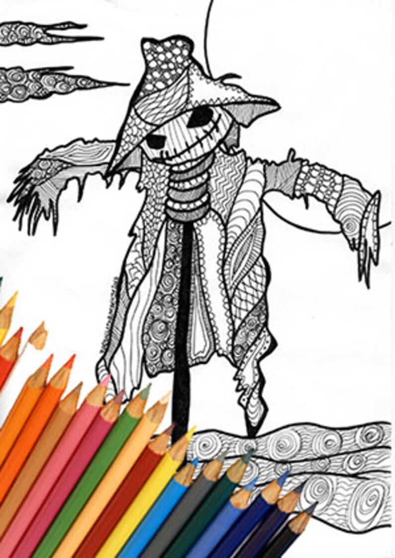 Spaventapasseri Zentangle Pagina Da Colorare Disegno Da Etsy