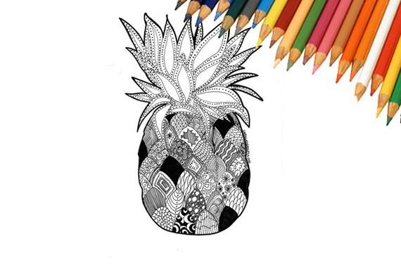 Adulto de piña tropical para colorear página imprimible | Etsy