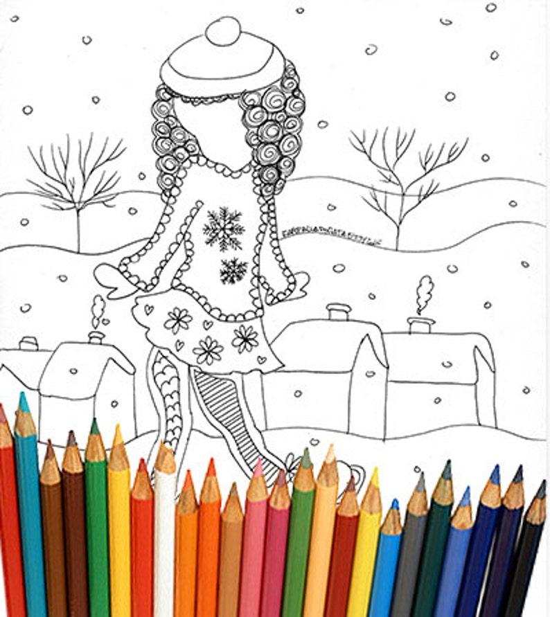 Winter Kleurplaten Schaatsen.Winter Meisje Kleurplaat Kinderen Tieners Volwassenen Etsy