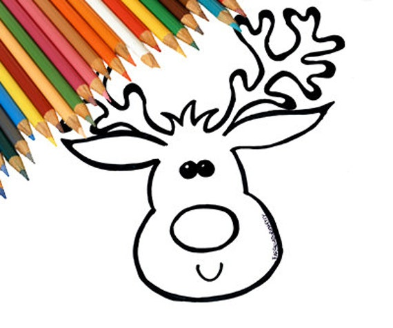 Renna Di Natale Pagina Da Colorare Disegno Per Bambini Etsy