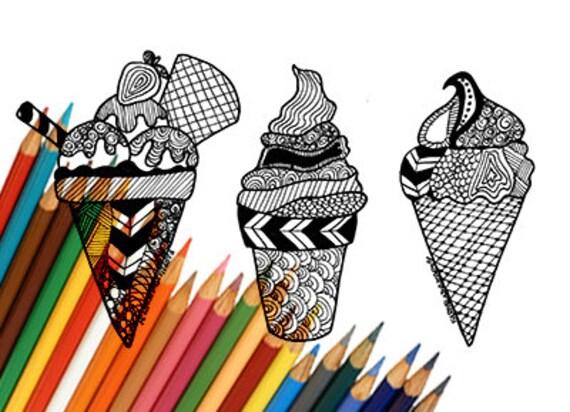 Cornet De Creme Glacee Creme Glacee Coloriage Pour Imprimer Etsy