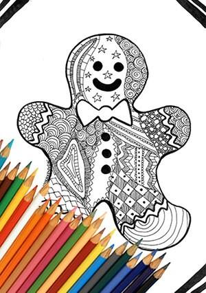 Hombre de jengibre de Navidad para imprimir para colorear | Etsy