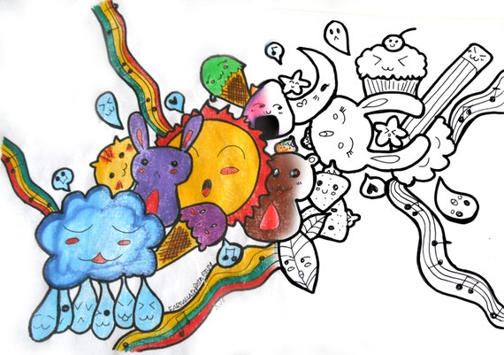 Coloriage Imprimable Cute Kawaii Doodle Cartoon Dessin Manga Téléchargement Relaxation Méditation Tendre Adultes Enfants Simple Sharpie