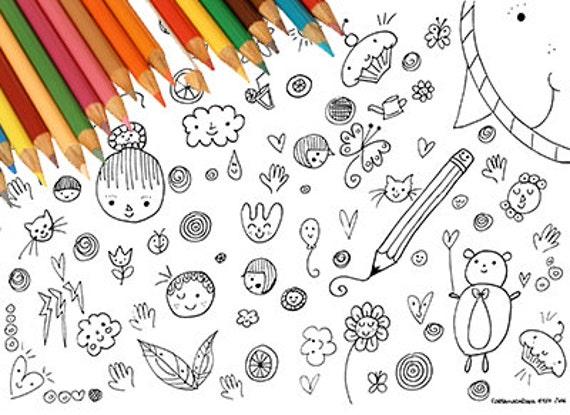 Disegno Da Colorare Bambini Stampabile Tenero Simpatico Kawaii Etsy