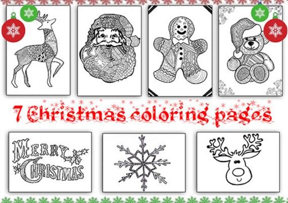 Set zentangle diseños 7 de Navidad para colorear páginas para | Etsy