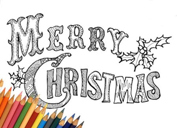 Feliz Navidad feliz Navidad para imprimir para colorear página | Etsy