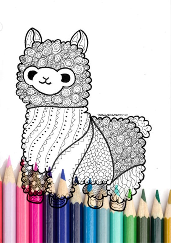 Lama Coloring Page Printable Zentangle Animal Coloring Page Etsy