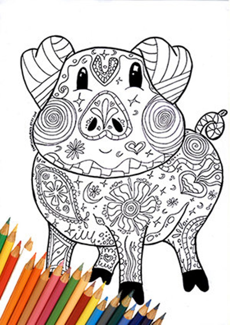 Coloring Page Pig Coloring Page Coloring Pig Farm Coloring Etsy