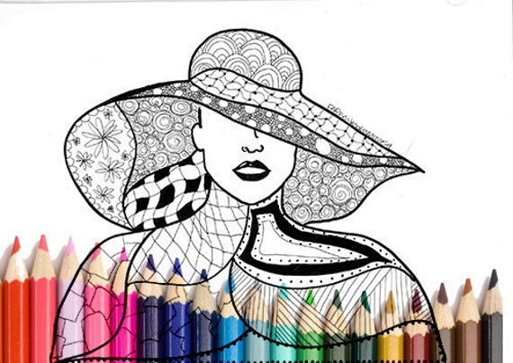 photo about Printable Hats called Lady with hat printable zentangle coloring hats coloring site case in point coloring e book black marker