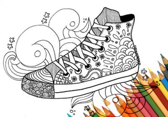 Sneakers Schoen Kleurplaat Afdrukbare A4 Pagina Voor Het Etsy