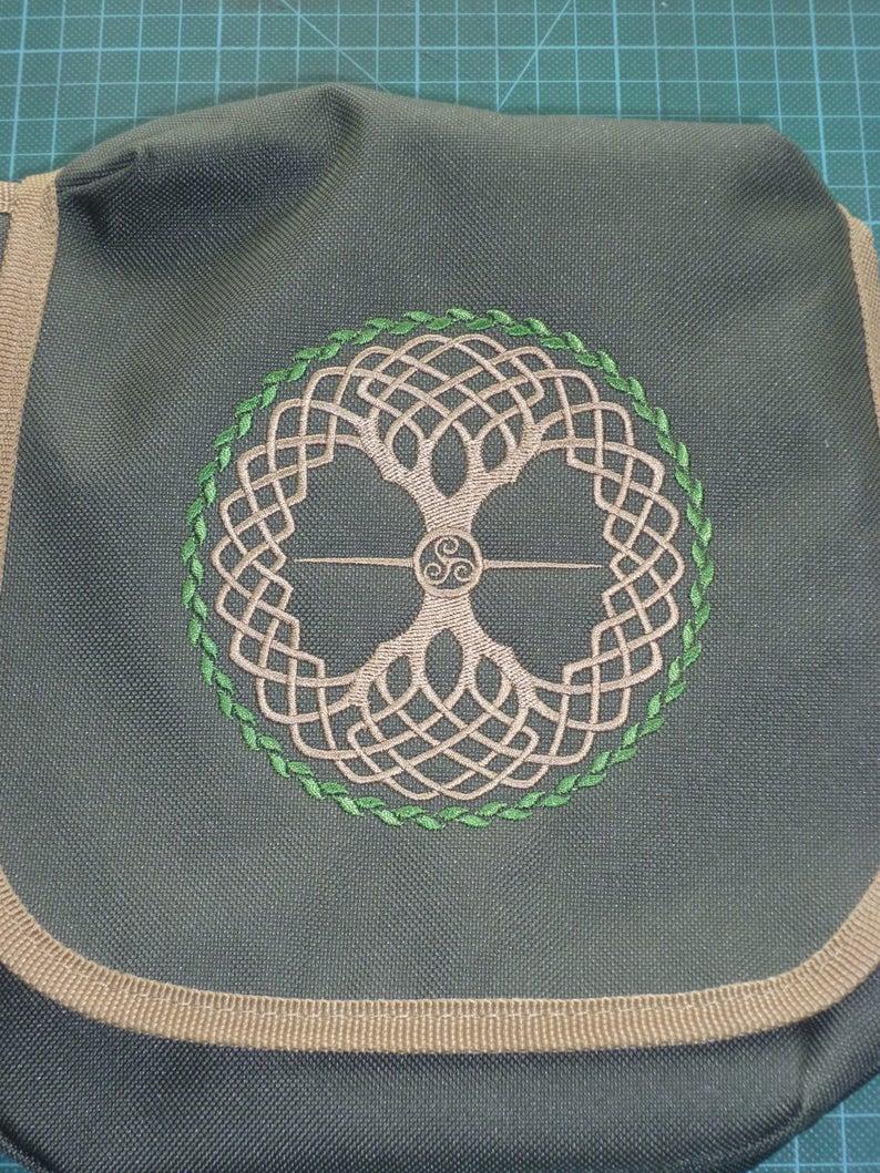 world tree crossbody bag Yggdrasil Bag knotwork design embroidered Bag Reporter Bag purse Tree of Life Bag