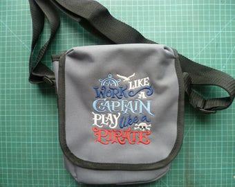 Pirate design Bag Work like a captain play like a pirate. Embroidered design Reporter Bag purse Crossbody bag