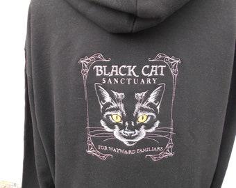 Cats Hoodie, Zip up hoodie, Witch hoodie, Black Cats Embroidered zip Hoodie, Slogan Statement, XS - 5XL