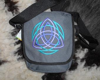 Triquetra Knotwork Bag, Celtic Trinity, Knot work Reporter bag, Embroidered Shoulder Handbag Knotwork Messenger, Crossbody bag