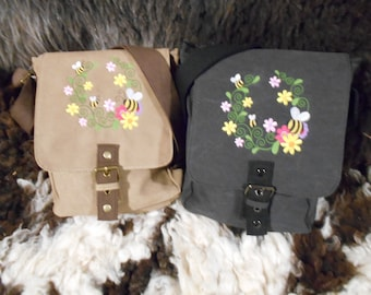 Bee Bag, Bee Tablet Bag, Flowers Ipad case, Embroidered purse , Vintage washed canvas padded compartment