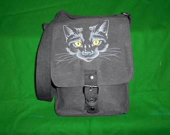 Black Cat Bag, Black Cat Tablet Bag, Cat Ipad case, Embroidered bag, Vintage washed canvas padded compartment