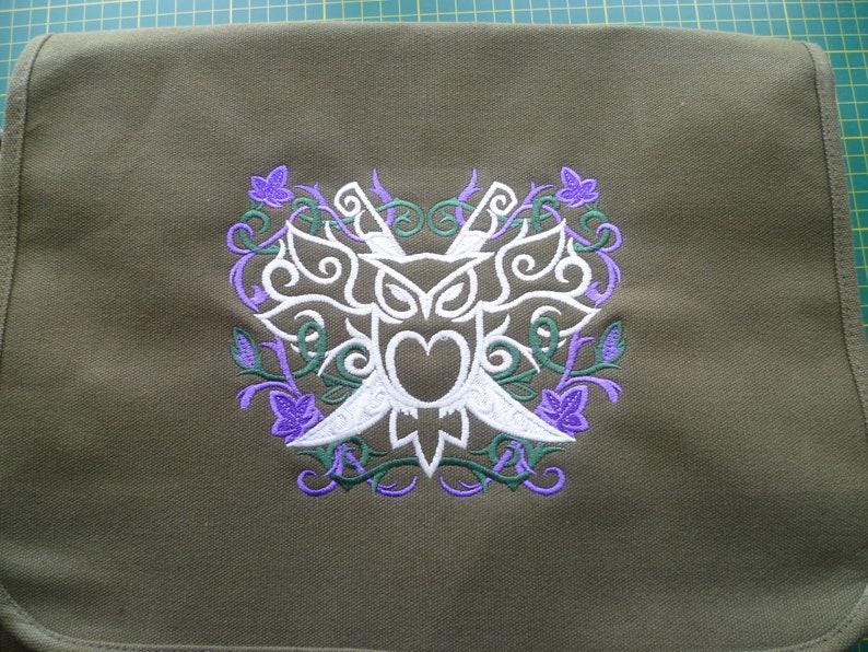 Owl Bag Owl Crest Bag Embroidered Owl Cotton Canvas messenger bag Ivy Vine design Shoulder Bag Handbag Elven LOTR Elvish Glow in the dark