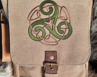 Triskele Bag, Triskele Tablet Bag, Celtic Ipad case, Embroidered purse , Vintage washed canvas padded compartment