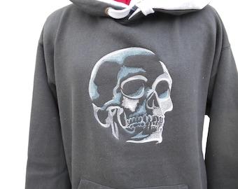Skull Hoodie, Halloween Hoodie, Day of the Dead Hoodie, Embroidered Hoodie, XS - 5XL