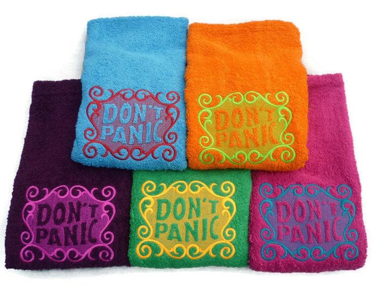 Don't Panic Towel Day Luxury HAND Towel Hitchhiker's Fuchsia Pink