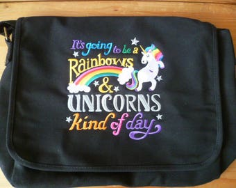 Unicorn Bag, Rainbows Bag, Rainbows and Unicorns Bag, It's going to be a Rainbows & Unicorns kind of day, Messenger Bag, Shoulder Bag