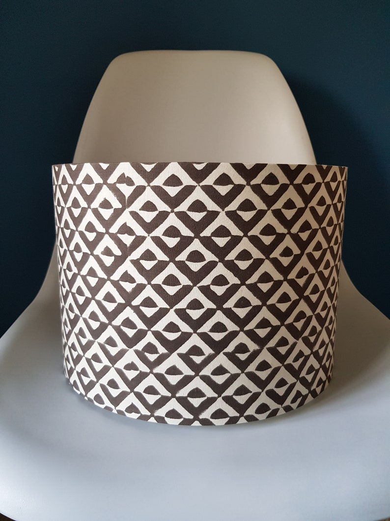 Drum Lampshade in Gorgeous Indian Block Print Geometric Coffee image 0