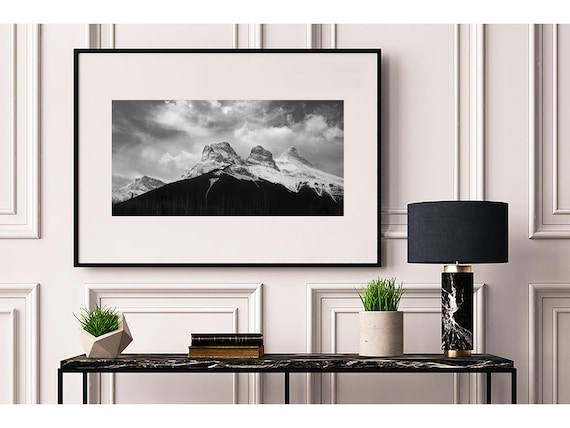 Three Sisters Black White Mountain Photography Print Etsy