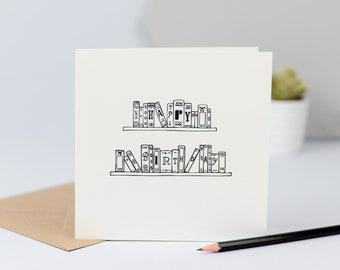 Library greeting card Book lover greeting card blank card,bibliophile gift whimsical book note card Read to Me Greeting Card