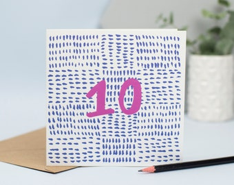 10th Birthday Card 10 Years Old Age Ten Tenth Birthday 10 Etsy