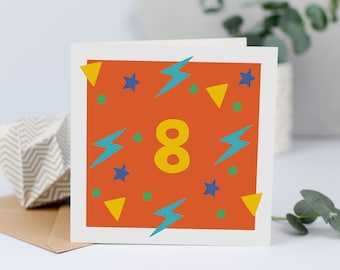 8th Birthday Card For 8 Year Old Age Eight Today Girl Boy Unisex Kid