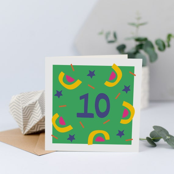 10th Birthday Card 10 Years Old Age Ten Tenth