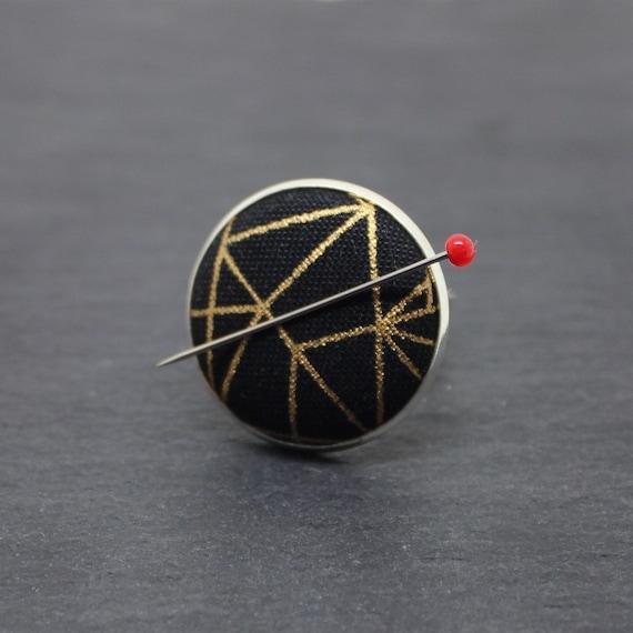 Magnetic Ring Pin Holder, Black & Gold Needle Keeper, Fabric Adjustable Ring, Fabric Magnetic Adjustable Ring, Pin Ring