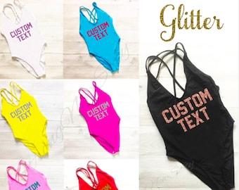 Custom Text Personalized swimwear. bathing suit. Swimsuit. Beach Party Swimsuit. Honeymoon Swimsuit. One Piece Swimsuit. High Cut Swimsuit.