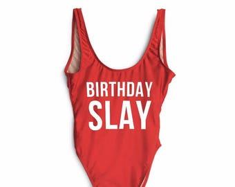 0d43d959deb Birthday Slay Swimsuit. Bachelorette Swimsuit. One Piece Swimsuit.  Swimwear. Beach Bathing Suit.