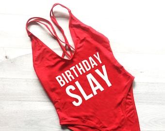 Birthday Slay Swimsuit. Swimwear. Beach Bathing Suit. Bachelorette Swimsuit. One Piece Swimsuit.