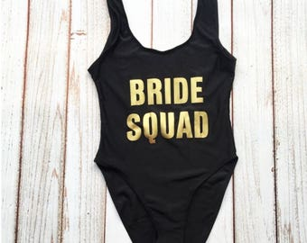 Good Bride Squad One Piece Swimsuit. Bachelorette Bathing Suit. Bride Bathing  Suit. Bride Swim. Squad Swimsuit. Bachelorette Party Bathing Suits.
