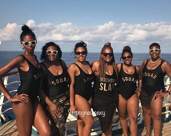 e7d75e1d01 One Piece Swimsuit. Bachelorette Bathing Suit. Birthday Slay Swim. Squad  Swimsuit. Bride Squad Bathing Suit.
