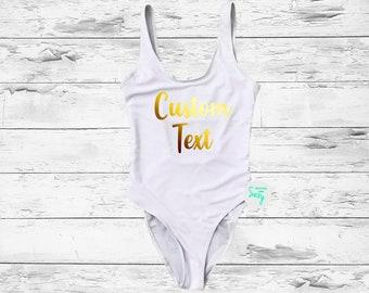 c3a5e580ec Custom Text Personalized swimwear. Plus Size. One Piece Swimsuit.  Bachelorette Swimsuit. bathing suit. Swimsuit.