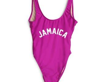 b25ba3b801 Jamaica Bathing Suit. Bachelorette Swimsuit. One Piece. Beach Bathing Suit.  Fun Bathing Suit. Jamaica Swimsuit.