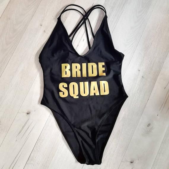 c11a54aca4771 Bachelorette Bathing Suit. Bride Squad Swimsuit. Squad Swim. | Etsy