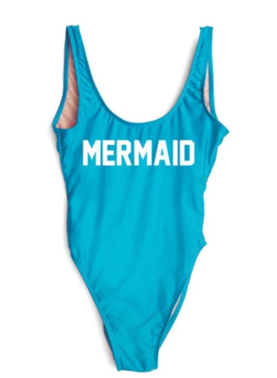 ff769b6941242 Ready To Ship Mermaid Bathing Suit. High cut Bathing Suit. | Etsy