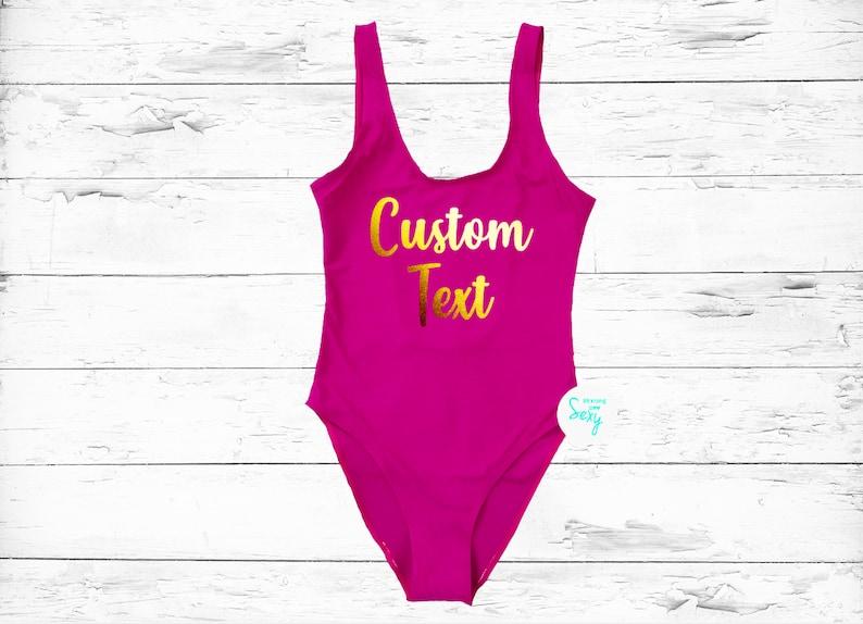 9af58c37d1eb6 Custom Swimsuit. Custom Text Personalized swimwear.