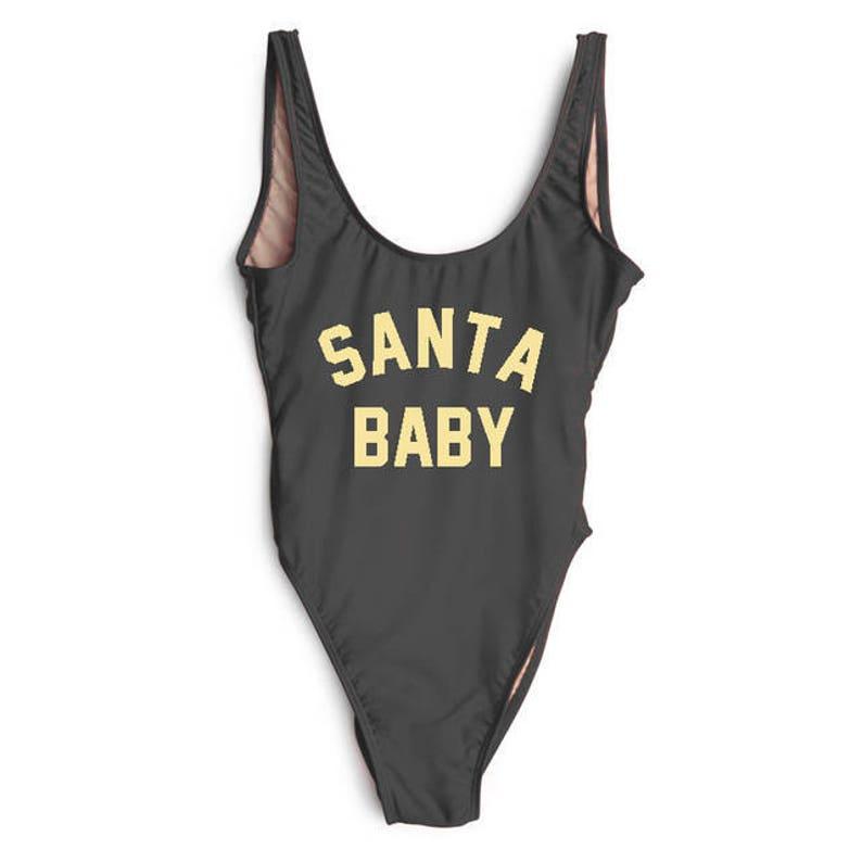0d8efe8ec1d Santa Baby Bathing Suit. Swim. Bachelorette Swimsuit. Santa   Etsy