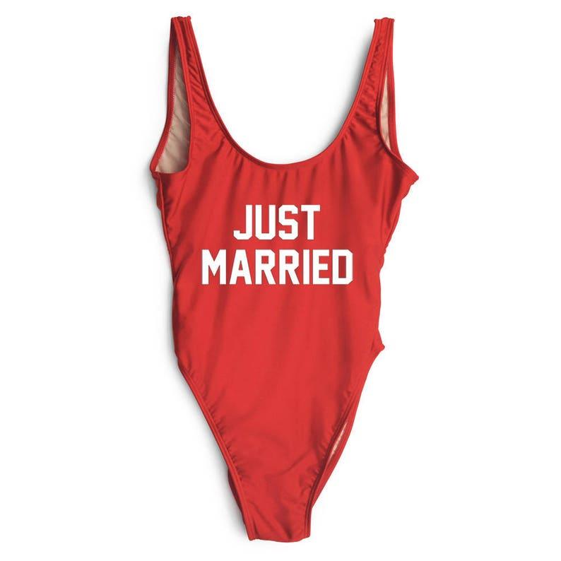 0ef8229909 Just Married Swimsuit. Bride Bathing Suit. Bride Swim. One
