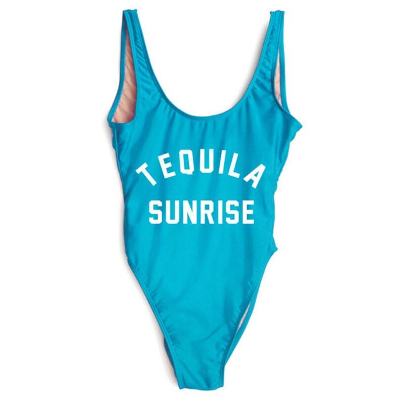 acde7714035 Tequila Sunrise Swimsuit. Bride Swim. Bachelorette Bathing   Etsy